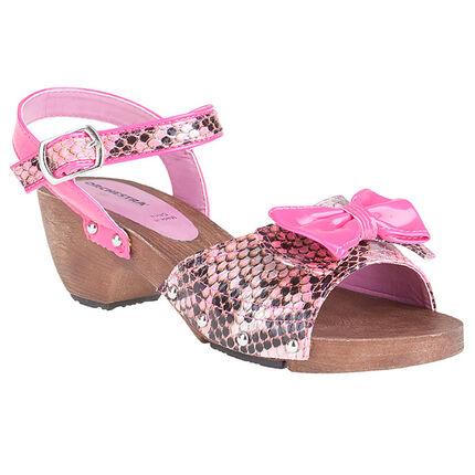 Sandalias rosa fosforescente con estampado de cocodrilo y lazo de fantasía