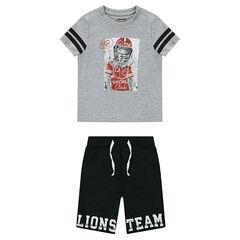 Conjunto de camiseta con estampado de león y bermudas de mueltón estampadas