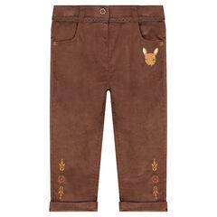 Pantalón slim de terciopelo con cervatillo bordado y ribete de encaje