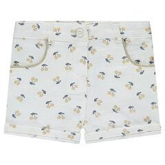 Pantalón corto con cerezas estampadas all over