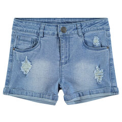 Júnior - Pantalón corto con efecto desgastado y parche ©Smiley brillante