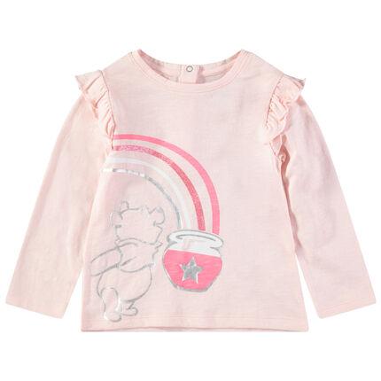 Camiseta de manga larga con volantes y estampados Winnie The Pooh con toques brillantes