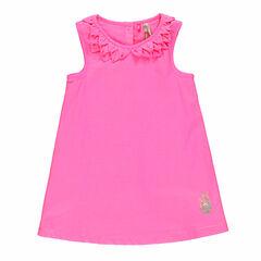 Vestido sin mangas de gasa de algodón de color uniforme con estampado de piña