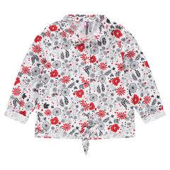 Camisa de manga larga con flores que contrastan