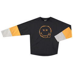 Júnior - Camiseta de manga larga tricolor con Smiley estampado