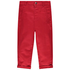 Pantalón rojo liso con bolsillo con dibujo de koala