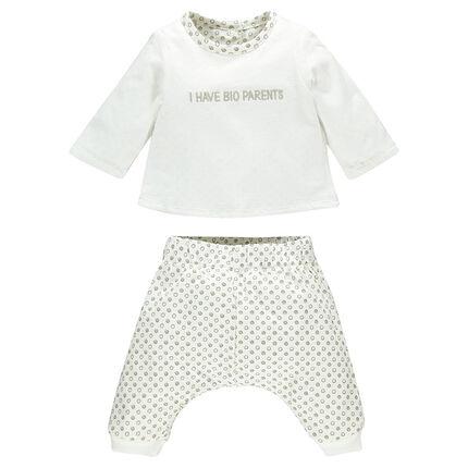 Conjunto de nacimiento camiseta pantalón harem reversible de algodón bio