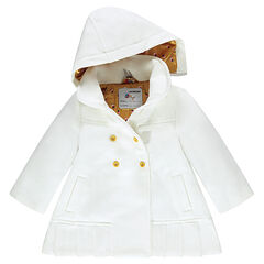 Abrigo efecto de lana con capucha extraíble y forro de satén