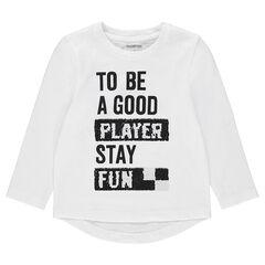 Camiseta de manga larga de punto con mensaje estampado y lentejuelas mágicas