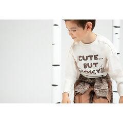 Camiseta de manga corta de punto jaspeado con cremallera e inscripción estampada