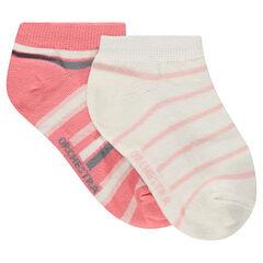 Júnior - Juego de 2 pares de calcetines cortos de rayas