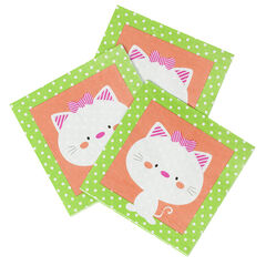 Juego de 20 servilletas de cumpleaños de papel con dibujo de gato