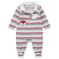 Pijama de terciopelo con rayas y zorro bordado