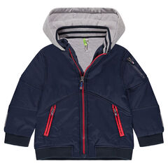 Abrigo de nylon con forro de punto y bolsillos con cremallera