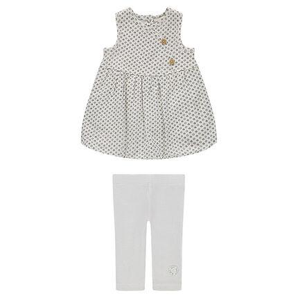 Conjunto de nacimiento vestido legging de algodón bio