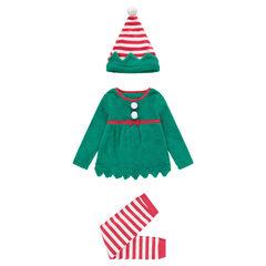 Pijama de duende de navidad de polar con estilo de disfraz con conjunto y gorro