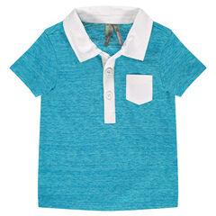 Polo de manga corta azul jaspeado con cuello y bolsillo de sarga