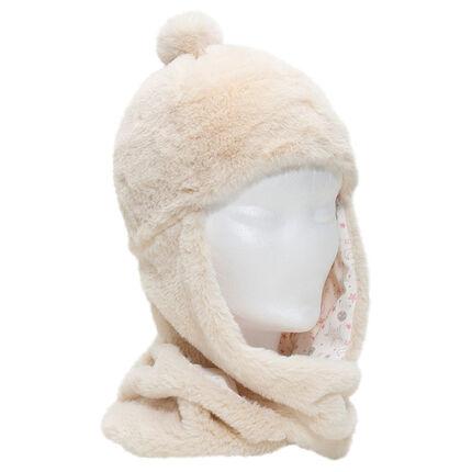 Gorro con bufanda de borreguillo, pompón y forro de punto