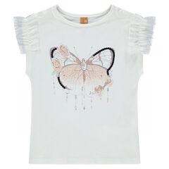 Camiseta de manga corta de punto con chorreras de tul y mariposa