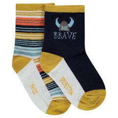 Juego de 2 pares de calcetines variados con dibujo de vikingo y rayas