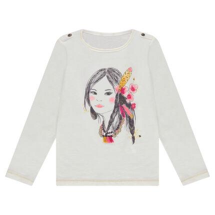 Camiseta de manga larga de punto con princesa estampada y pompones de relieve