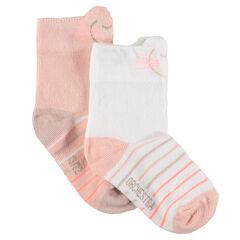 Juego de 2 pares de calcetines variados con rayas de jacquard y canalé de fantasía