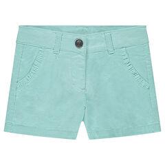 Pantalón corto de sarga con volantes en los bolsillos