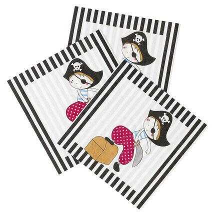 x 20 servilletas de cumpleaños de papel con dibujo de Pirata