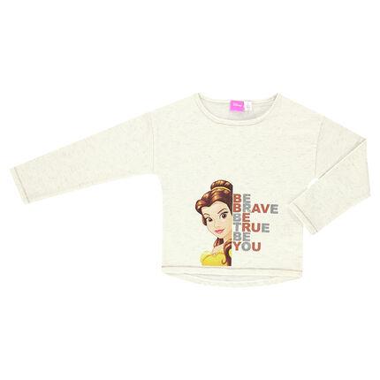 Camiseta de manga larga de punto slub Disney con estampado de Bella