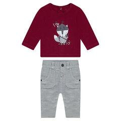 Conjunto de camiseta de punto y pantalón de espiguilla