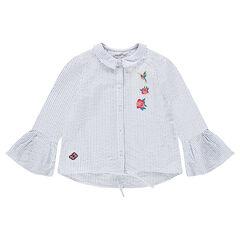 Camisa de manga larga de gasa de algodón con flores bordadas