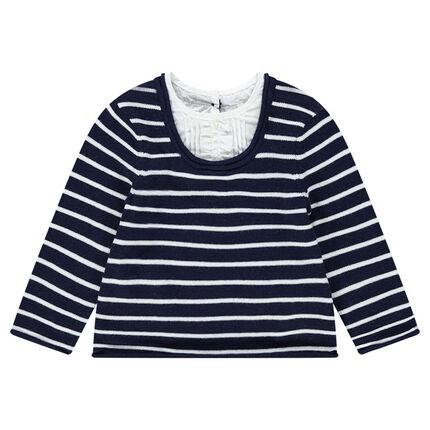 Jersey de punto 2 en 1 con aplicaciones de camisa