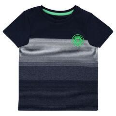 Camiseta de manga corta de rayas finas con estampado de fantasía