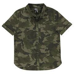 Júnior - Camisa de manga corta de algodón de fantasía con estampado militar