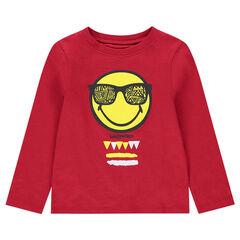 Camiseta de manga larga roja de punto con ©Smiley estampado