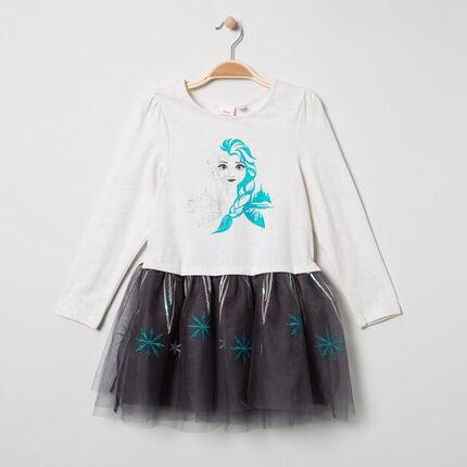 Vestido de manga larga de tul y brillo con estampado Elsa Frozen Disney