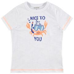 Camiseta de manga corta de punto con cangrejo estampado