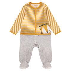 Pijama de terciopelo con efecto 2 en 1 con tigre estampado