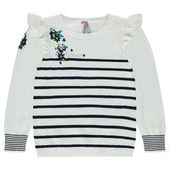 Jersey estilo marinera con flores bordadas y volantes