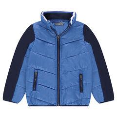 Júnior - Chaqueta de dos materiales con bolsillos con cremallera y capucha integrada