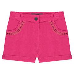 Pantalón corto de pana de terciopelo con bordados