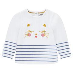 Camiseta de manga larga a rayas con gato estampado