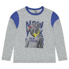 Júnior - Camiseta de punto de manga larga con oso estampado