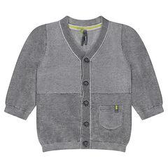 Chaqueta de punto gris jaspeado con bolsillo