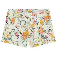 Shorts de algodón trenzado con flores all-over
