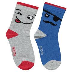 Juego de 2 pares de calcetines variados con personajes de jacquard