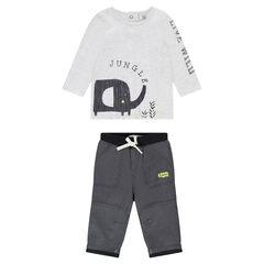 Conjunto con camiseta con estampado elegante y pantalón de muletón