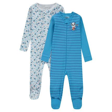 Juego de 2 pijamas de puntocon rayas all over y pandas estampados all over