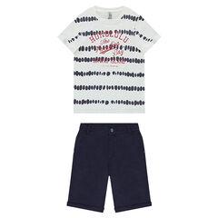 Conjunto con camiseta de efecto shibori y bermudas lisas