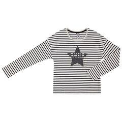 Júnior - Camiseta de manga larga de punto con rayas y estrellas brillantes